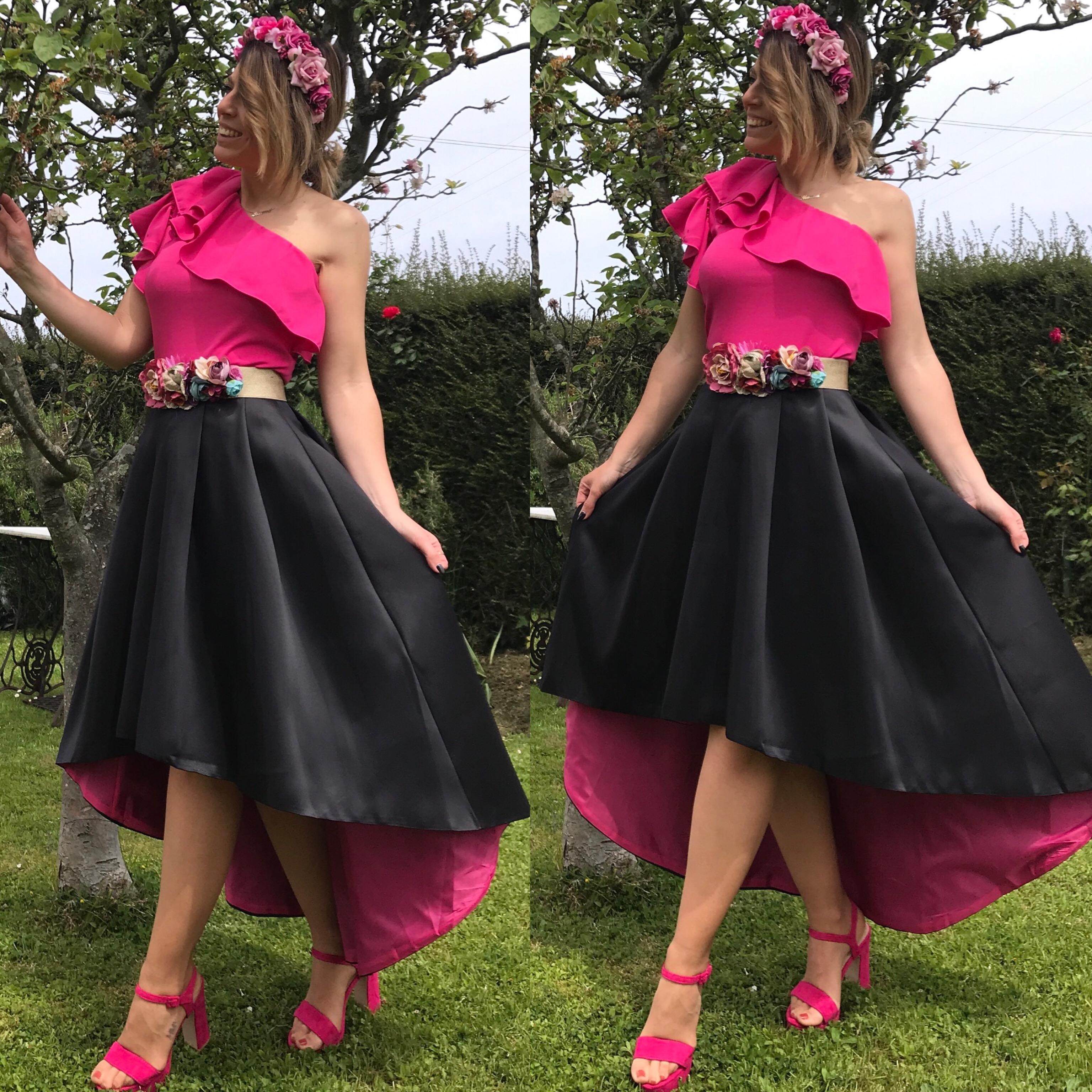 falda capote negra fucsia