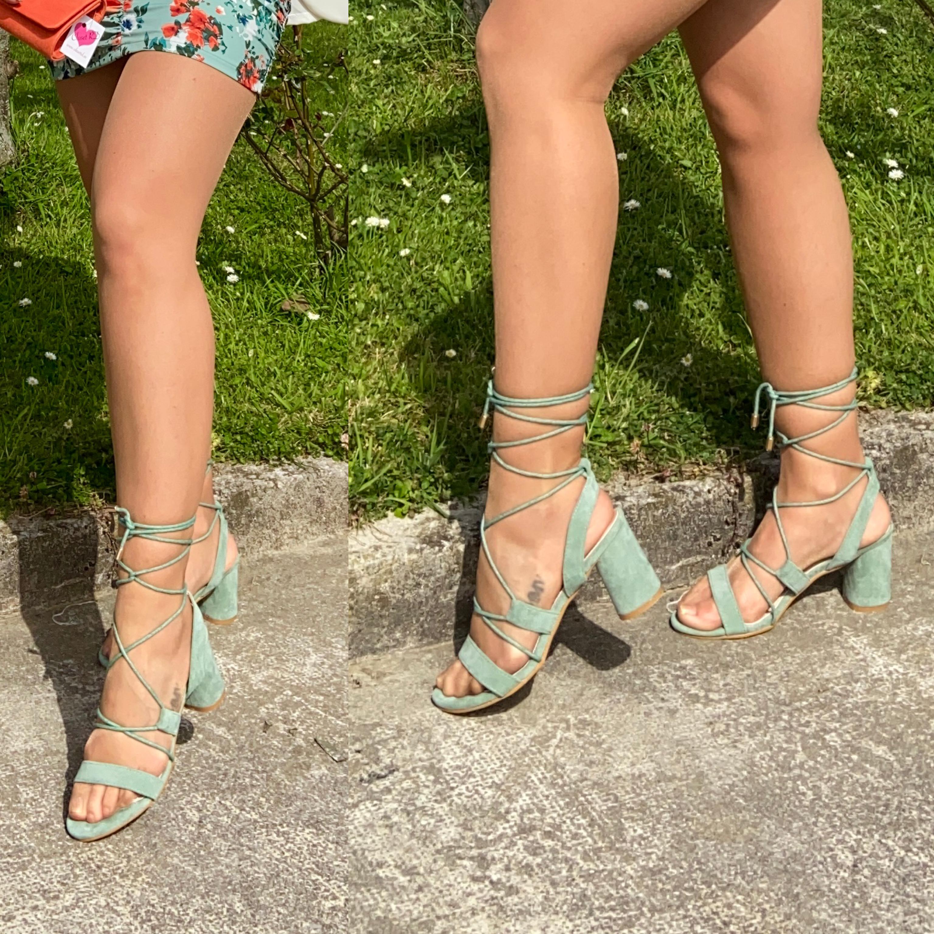 sandalia romana verde agua